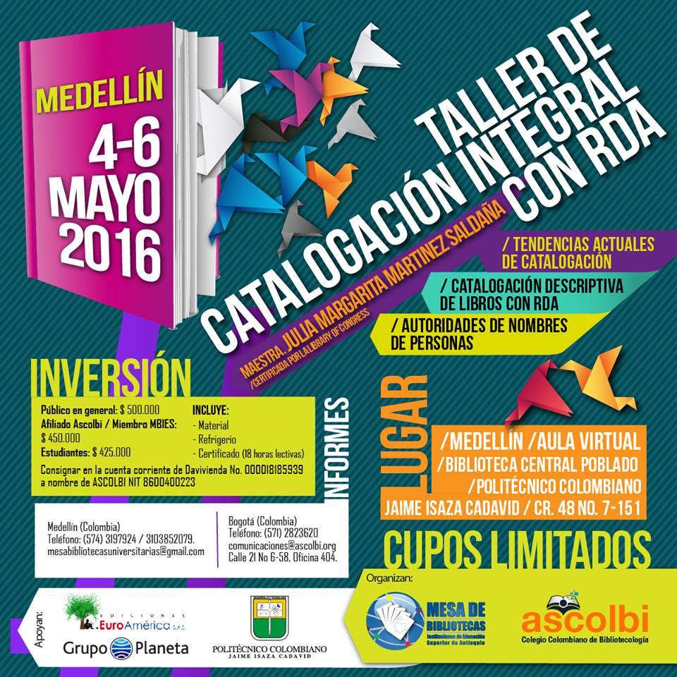 Taller de catalogación integral con RDA, Medellín 2016-1